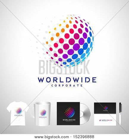 Dots Sphere Logo Dots Sphere Corporate Business Icon Sphere Dots Vector.