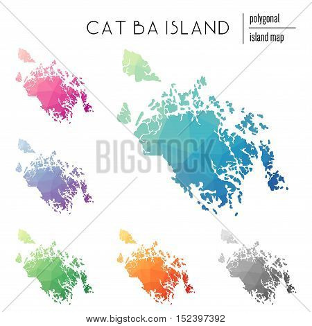 Set Of Vector Polygonal Cat Ba Island Maps Filled With Bright Gradient Of Low Poly Art. Multicolored