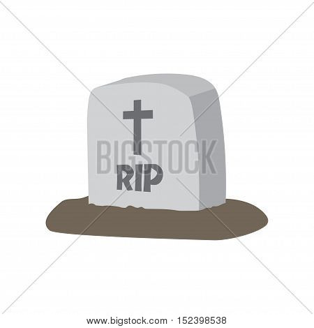 Gravestone. Vector illustrationVector illustration grey gravestone with cross. Flat tombstone icon