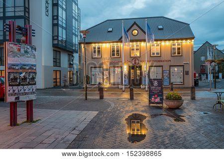 REYKJAVIK, ICELAND - AUGUST 17, 2016: Ingolfstorg square at dusk in Reykjavik. Ingolfstorg is the city center of the Icelandic capital Reykjavik.