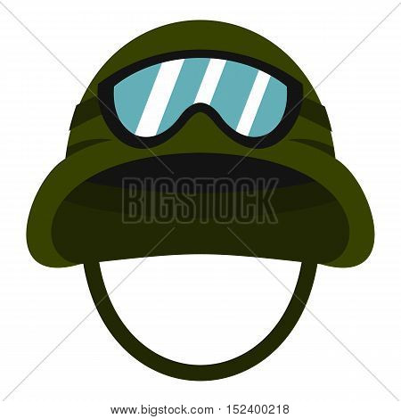 Military metal helmet icon. Flat illustration of helmet vector icon for web design