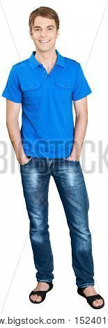 Similing Young Man Standing with Hands in Pockets - Isolated