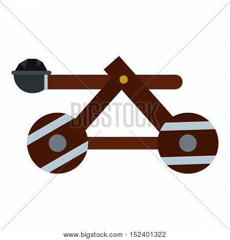 Medieval siege catapult icon. Flat illustration of catapult vector icon for web design