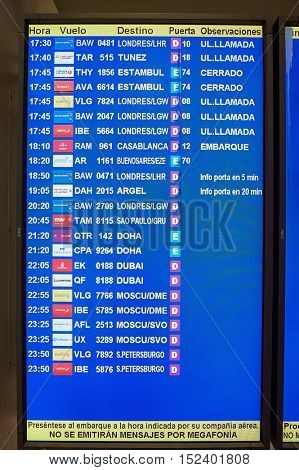 BARCELONA, SPAIN - CIRCA NOVEMBER, 2015: flight information display at Barcelona Airport. Barcelona-El Prat Airport is an international airport. It is the main airport of Catalonia, Spain.