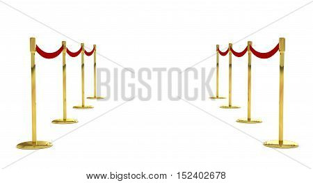 Mobile fence barrier with red belt and velvet carpet stand isolated on white. Fencing barricade on metal chrome pole posts. Portable protective rack with ribbon stretch tape. Protection fence crowd. 3d render