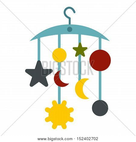 Baby bed carousel icon. Flat illustration of bed carousel vector icon for web design