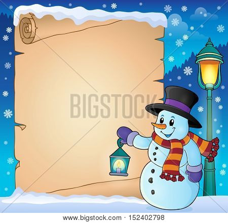 Parchment with snowman holding lantern - eps10 vector illustration.