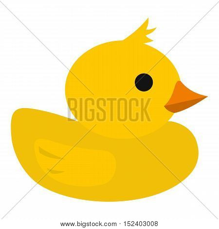 Yellow rubber duck icon. Flat illustration of duck vector icon for web design