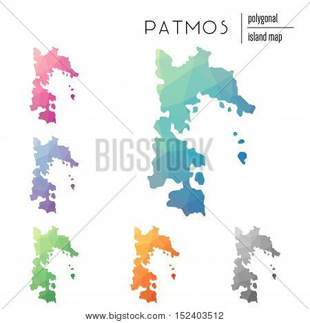 Set Of Vector Polygonal Patmos Maps Filled With Bright Gradient Of Low Poly Art. Multicolored Island