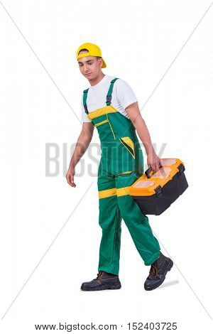 Young man with toolkit toolbox isolated on white