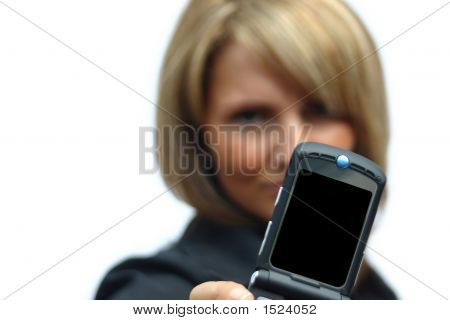 A Beautiful Woman With Phone - Black Display