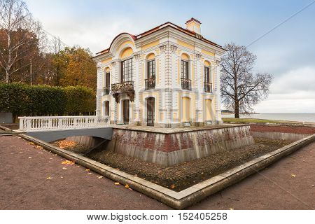 PETERHOF, SAINT PETERSBURG, RUSSIA - OСTOBER 09, 2016: The Hermitage in the Lower Gardens of Peterhof (near St. Petersburg). It was built in 1721-1725 by the architect Johann Braunstein