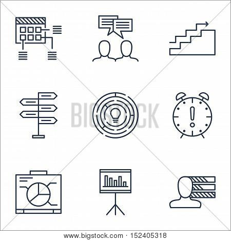 Set Of Project Management Icons On Discussion, Personal Skills And Presentation Topics. Editable Vec