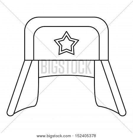 Hat with earflaps and star icon. Outline illustration of hat with earflaps vector icon for web