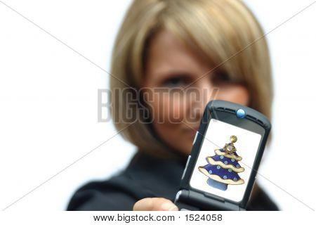 A Beautiful Woman With Phone - Christmas Display