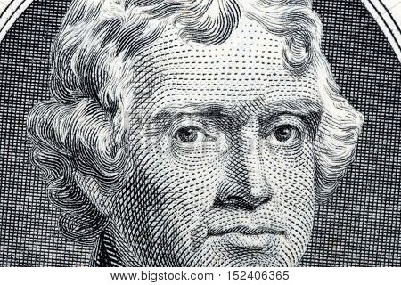 President Thomas Jefferson close-up portrait from two us dollars