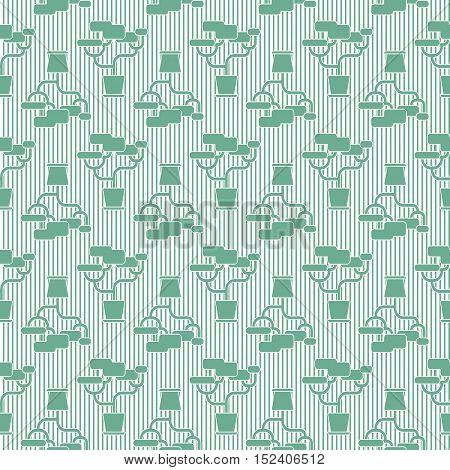 Green geometric houseplant seamless pattern, striped vector background