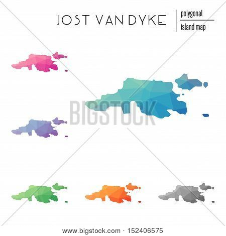 Set Of Vector Polygonal Jost Van Dyke Maps Filled With Bright Gradient Of Low Poly Art. Multicolored