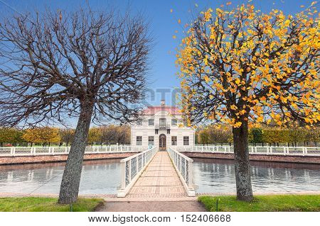 PETERHOF, SAINT PETERSBURG, RUSSIA - OCTOBER 09, 2016: Marly  Building in the Lower Gardens of Peterhof (near St. Petersburg). It was built in 1720-1723 by the architect Johann Braunstein