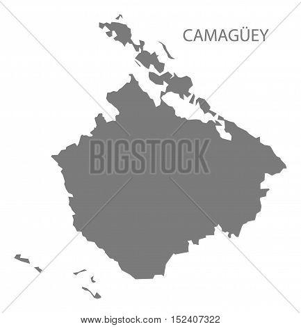 Camaguey Cuba Map grey illustration high res