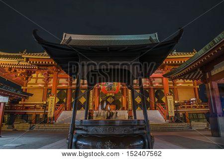 SENSOJI TEMPLE, JAPAN - OCTOBER 11 ,2016 :: The Kaminarimon (Thunder Gate), the gate of Sensoji Temple and the symbol of Asakusa at Night , Tokyo, Japan. October 11 2016