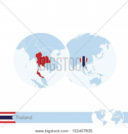 Thailand On World Globe With Flag And Regional Map Of Thailand.