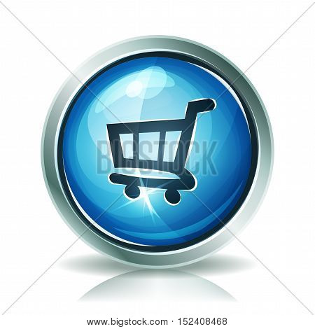 Illustration of a cartoon shopping cart icon or button with light and glossy effect
