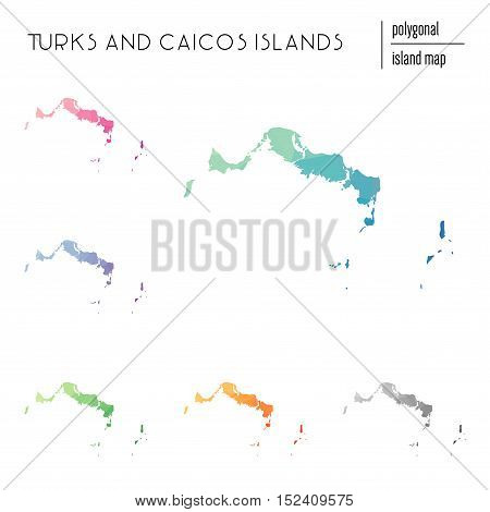 Set Of Vector Polygonal Turks And Caicos Islands Maps Filled With Bright Gradient Of Low Poly Art. M