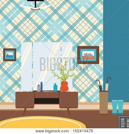 Vector illustration of a hallway with a trellis painting umbrella in the style of 70s.
