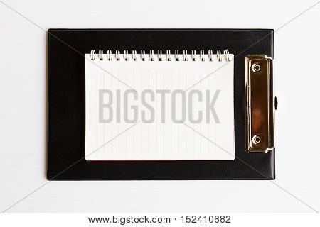 Clip board leather with blank white paper