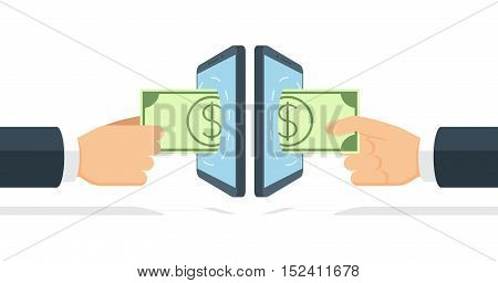 Businessmen sending and receiving money by means of modern wireless technology. Cartoon hand gives banknote through banking payment app. Vector illustration in flat style.