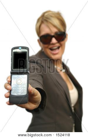 A Beautiful Business Woman With Phone - Black Display