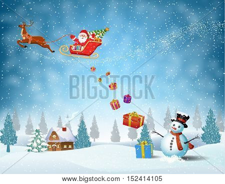 Santa Claus sleigh fly over the forest, house, snowman and throws gifts . Christmas card, invitation, background, design template. vector illustration