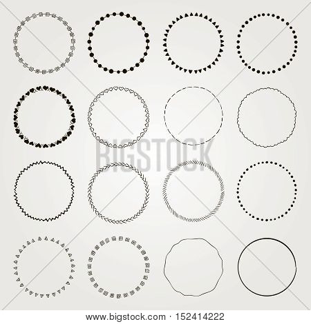Set of Hand Drawn Black Doodle Circle Logo Badge Elements Set, Borders, Frames. Rustic Decorative Design Elements, Florals. Minimal Concept Vector Illustration.