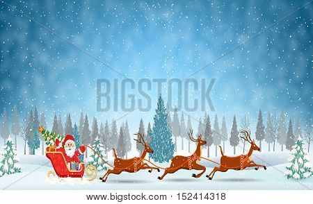 Christmas Santa Claus riding on sleigh with Christmas Reindeer on the snow. concept for greeting or postal card, vector illustration