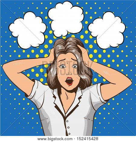 Woman in panic. Vector illustration in pop art retro style. Stressed girl in shock grabs her head in hands.