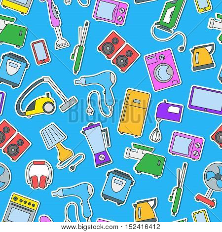 Seamless background with a simple icons on the topic of household appliances a colored icons on a blue background