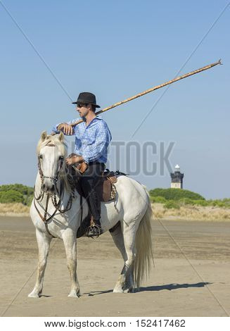 herdsman on the beach whit his Camargue horse