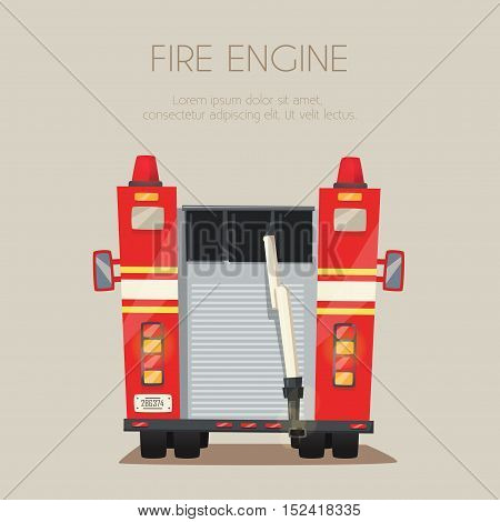 Fire truck. Vector cartoon illustration. Isolated background. American transport. Service. Back view Modern auto
