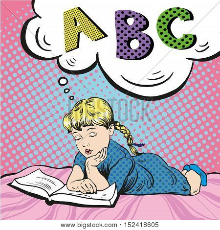 Little girl reading book on a bed. Vector illustration in comic pop art style. Girl studying alphabet.
