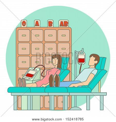 Blood transfusion in hospital concept. Flat illustration of blood transfusion in hospital vector concept for web