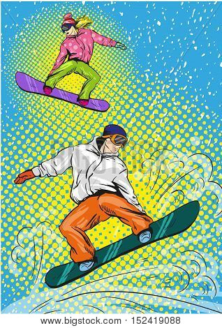 Man and woman snowboarding in mountains. Vector illustration in pop art retro style. Winter sports vacation concept. Sportsman jump with snowboard.