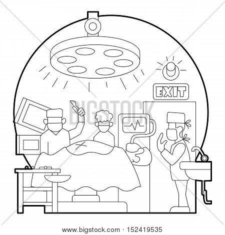 Surgical operation in hospital concept. Outline illustration of surgical operation in hospital vector concept for web