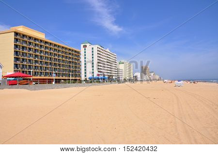 VIRGINIA BEACH, USA - MAY 4: Virginia Beach Oceanfront and hotels on May 4th, 2012 in Virginia Beach, Virginia, USA.