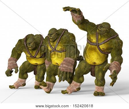 Ogres Monsters 3D Illustration Isolated On White