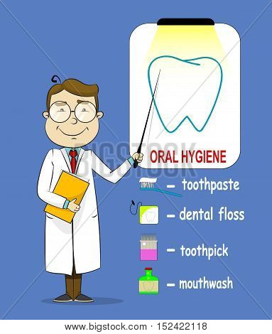 Oral hygiene banners with cute cartoon doctor, telling about oral hygiene methods such as brushing, flossing and rinsing. Vector illustration.