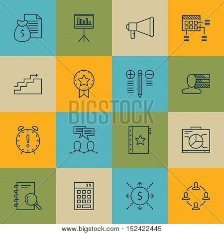 Set Of Project Management Icons On Schedule, Money And Collaboration Topics. Editable Vector Illustr