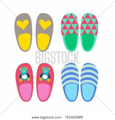 Home slippers shoes vector icons. Flat style set of slippers.