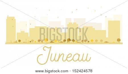 Juneau City skyline golden silhouette. Vector illustration. Simple flat concept for tourism presentation, banner, placard or web site. Business travel concept. Cityscape with famous landmarks