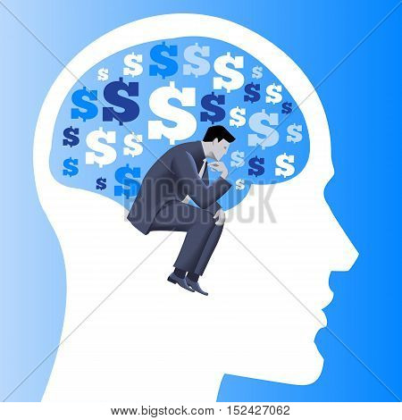 Financial thinking business concept. Pensive businessman in business suit thinking inside human brain filled with dollar signs . Vector illustration. Use as template logo background.